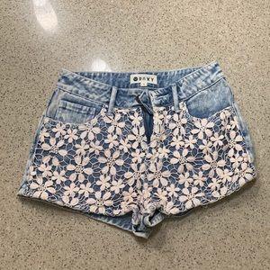 Denim floral roxy shorts size 1